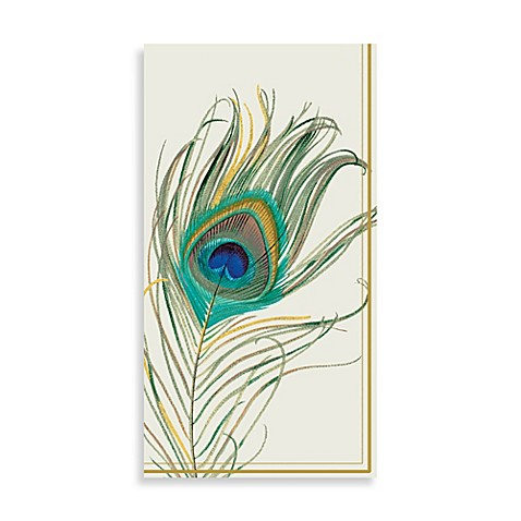 Peacock feather paper guest towels set of 16 bed bath - Disposable guest towels for bathroom ...