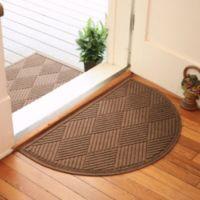 Weather Guard™ Diamonds 24-Inch x 39-Inch Half Oval Door Mat in Dark Brown