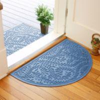 Weather Guard™ Boxwood 24-Inch x 39-Inch Half Oval Door Mat in Medium Blue