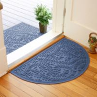 Weather Guard™ Boxwood 24-Inch x 39-Inch Half Oval Door Mat in Navy