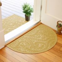 Weather Guard™ Boxwood 24-Inch x 39-Inch Half Oval Door Mat in Yellow