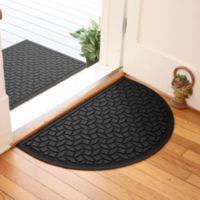 Weather Guard™ Ellipse 24-Inch x 39-Inch Half Oval Door Mat in Charcoal