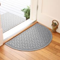 Weather Guard™ Ellipse 24-Inch x 39-Inch Half Oval Door Mat in Medium Grey