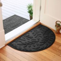 Weather Guard™ Brittney Leaf 24-Inch x 39-Inch Half Oval Door Mat in Charcoal