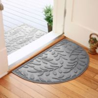 Weather Guard™ Brittney Leaf 24-Inch x 39-Inch Half Oval Door Mat in Medium Grey