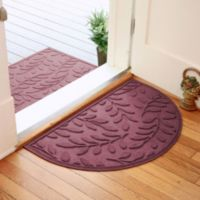 Weather Guard™ Brittney Leaf 24-Inch x 39-Inch Half Oval Door Mat in Bordeaux