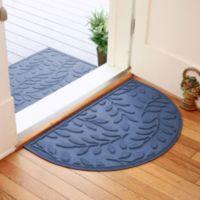 Weather Guard™ Brittney Leaf 24-Inch x 39-Inch Half Oval Door Mat in Navy