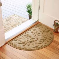 Weather Guard™ Brittney Leaf 24-Inch x 39-Inch Half Oval Door Mat in Gold