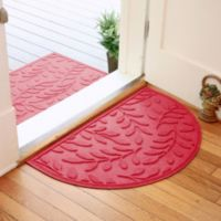 Weather Guard™ Brittney Leaf 24-Inch x 39-Inch Half Oval Door Mat in Solid Red