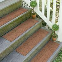 Weather Guard™ Brittney Leaf 8.5-Inch x 30-Inch Stair Treads in Dark Brown (Set of 2)