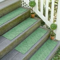 Weather Guard™ Brittney Leaf 8.5-Inch x 30-Inch Stair Treads in Light Green (Set of 2)