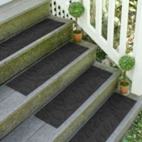Weather Guard™ Brittney Leaf 8.5-Inch x 30-Inch Stair Treads in Charcoal (Set of 2)