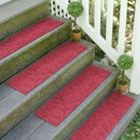 Weather Guard™ Brittney Leaf 8.5-Inch x 30-Inch Stair Treads in Red/Black (Set of 2)