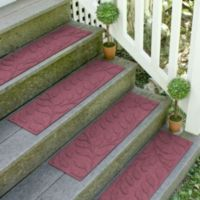Weather Guard™ Brittney Leaf 8.5-Inch x 30-Inch Stair Treads in Bordeaux (Set of 2)