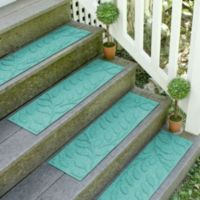 Weather Guard™ Brittney Leaf 8.5-Inch x 30-Inch Stair Treads in Aquamarine (Set of 2)