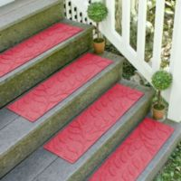 Weather Guard™ Brittney Leaf 8.5-Inch x 30-Inch Stair Treads in Solid Red (Set of 2)
