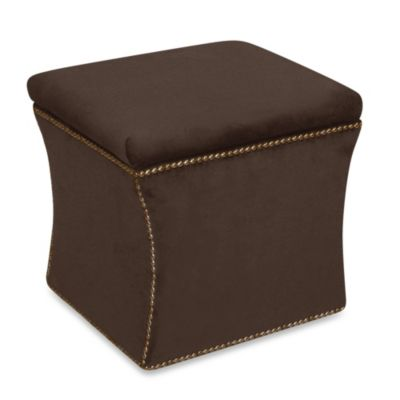 Skyline Furniture Nail Button Storage Ottoman in Velvet Chocolate - Buy Chocolate Storage Ottoman From Bed Bath & Beyond