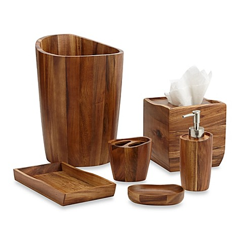 Acacia vanity bathroom accessories bed bath beyond for Matching bathroom accessories sets