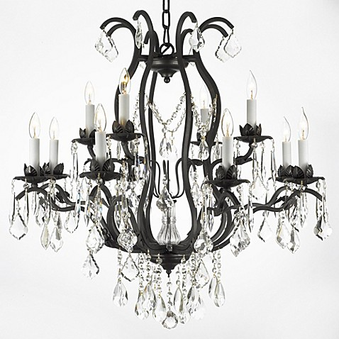 image of Gallery Wrought Iron and Crystal, 12-Light Chandelier