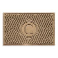 """Weather Guard™ Diamonds Monogrammed """"C"""" 23-Inch x 35-Inch Door Mat in Camel"""