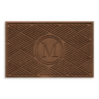 "Weather Guard™ Diamonds Monogrammed ""M""23-Inch x 35-Inch Door Mat in Dark Brown"