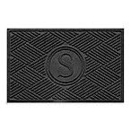 "Weather Guard™  Diamonds Monogrammed ""S""23-Inch x 35-Inch Door Mat in Charcoal"