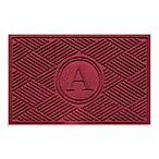 "Weather Guard™  Diamonds Monogrammed ""A"" 23-Inch x 35-Inch Door Mat in Red/Black"