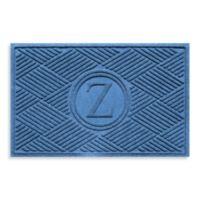 """Weather Guard™ Diamonds Monogrammed """"Z"""" 23-Inch x 35-Inch Door Mat in Medium Blue"""