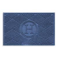 """Weather Guard™ Diamonds Monogrammed """"H"""" 23-Inch x 35-Inch Door Mat in Navy"""