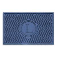 """Weather Guard™ Diamonds Monogrammed """"L"""" 23-Inch x 35-Inch Door Mat in Navy"""