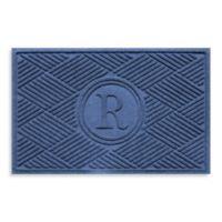 """Weather Guard™ Diamonds Monogrammed """"R"""" 23-Inch x 35-Inch Door Mat in Navy"""