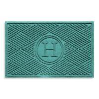 """Weather Guard™ Diamonds Monogrammed """"H"""" 23-Inch x 35-Inch Door Mat in Aquamarine"""