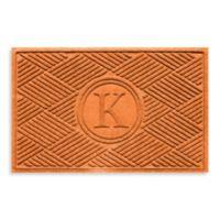 """Weather Guard™ Diamonds Monogrammed """"K"""" 23-Inch x 35-Inch Door Mat in Orange"""