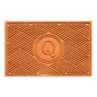 """Weather Guard™ Diamonds Monogrammed """"Q"""" 23-Inch x 35-Inch Door Mat in Orange"""