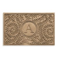 "Weather Guard™ Boxwood Monogrammed ""A"" 23-Inch x 35-Inch Door Mat in Camel"