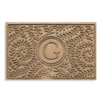 "Weather Guard™ Boxwood Monogrammed ""G"" 23-Inch x 35-Inch Door Mat in Camel"