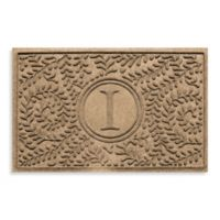 """Weather Guard™ Boxwood Monogrammed """"I"""" 23-Inch x 35-Inch Door Mat in Camel"""