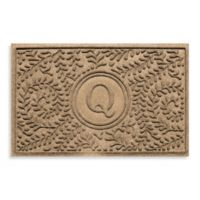 "Weather Guard™ Boxwood Monogrammed ""Q"" 23-Inch x 35-Inch Door Mat in Camel"