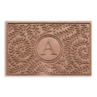 "Weather Guard™ Boxwood Monogrammed ""A"" 23-Inch x 35-Inch Door Mat in Medium Brown"