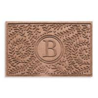 """Weather Guard™ Boxwood Monogrammed """"B"""" 23-Inch x 35-Inch Door Mat in Medium Brown"""