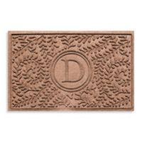 """Weather Guard™ Boxwood Monogrammed """"D"""" 23-Inch x 35-Inch Door Mat in Medium Brown"""