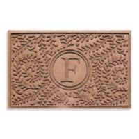 """Weather Guard™ Boxwood Monogrammed """"F"""" 23-Inch x 35-Inch Door Mat in Medium Brown"""