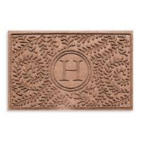 """Weather Guard™ Boxwood Monogrammed """"H"""" 23-Inch x 35-Inch Door Mat in Medium Brown"""
