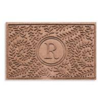 "Weather Guard™ Boxwood Monogrammed ""R"" 23-Inch x 35-Inch Door Mat in Medium Brown"