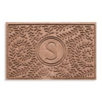 """Weather Guard™ Boxwood Monogrammed """"S"""" 23-Inch x 35-Inch Door Mat in Medium Brown"""