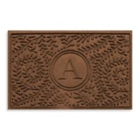 "Weather Guard™ Boxwood Monogrammed ""A"" 23-Inch x 35-Inch Door Mat in Dark Brown"