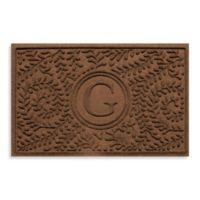 """Weather Guard™ Boxwood Monogrammed """"G"""" 23-Inch x 35-Inch Door Mat in Dark Brown"""