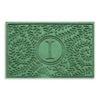 """Weather Guard™ Boxwood Monogrammed """"I"""" 23-Inch x 35-Inch Door Mat in Light Green"""