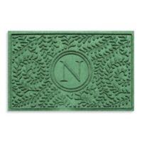 "Weather Guard™ Boxwood Monogrammed ""N"" 23-Inch x 35-Inch Door Mat in Light Green"
