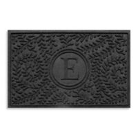 """Weather Guard™ Boxwood Monogrammed """"E"""" 23-Inch x 35-Inch Door Mat in Charcoal"""
